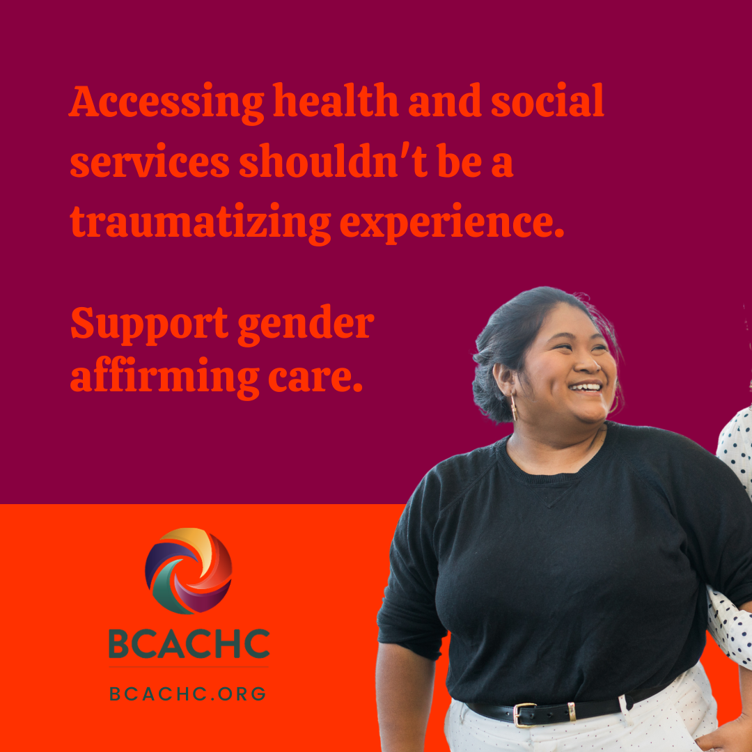 """A purple square with the words """"Accessing health and social services shouldn't be a traumatizing experience. Support gender affirming care."""