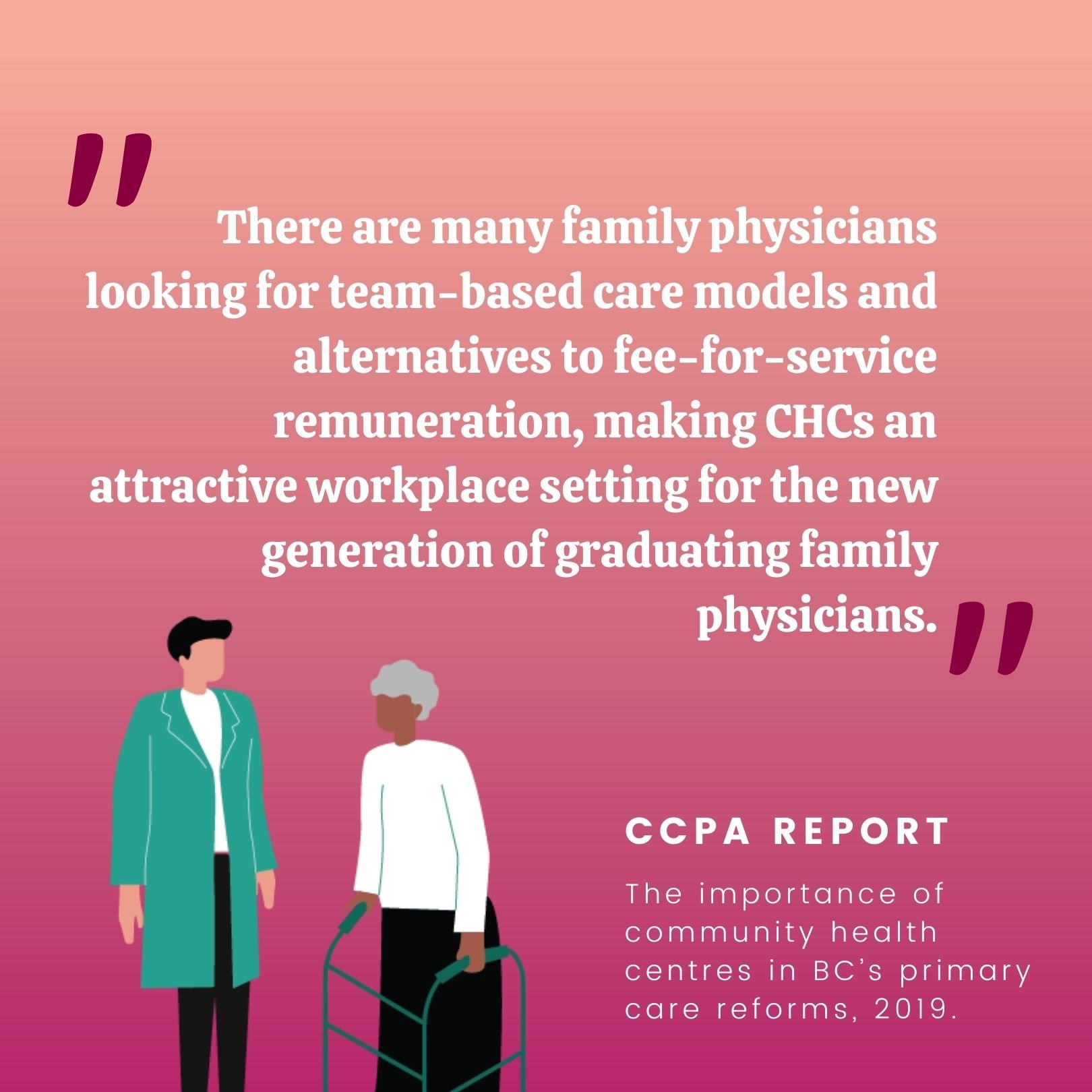 There are many family physicians looking for team-based care models and alternatives to fee-for-service remuneration, making CHCs an attractive workplace setting for the new generation of graduating family physicians.